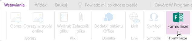 Opcja Wstaw formularze w aplikacji OneNote Online