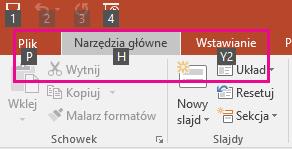 powiększanie wskazówek klawiszowych na wstążce w programie PowerPoint