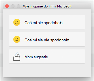 Okno dialogowe Opinie dla systemu MacOS