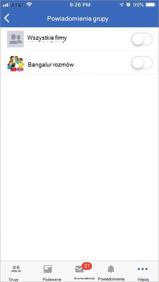 Wybieranie grupy, aby otrzymywać powiadomienia z strony usługi Yammer iOS