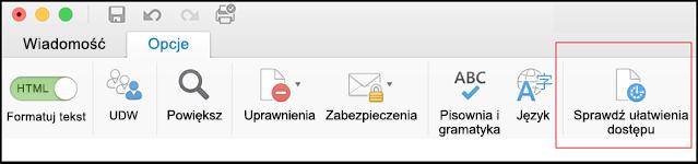 Zrzut ekranu interfejsu użytkownika w programie Outlook służącego do otwierania narzędzia Sprawdzanie ułatwień dostępu