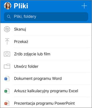 Zrzut ekranu przedstawiający menu Dodawanie w aplikacji OneDrive dla systemu iOS