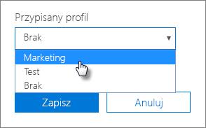 W panelu Urządzenie wybierz przypisany profil, aby go zastosować.