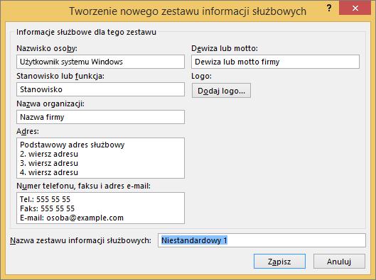 Zrzut ekranu: Tworzenie nowego zestawu informacji służbowych okno.