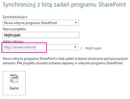 Obraz synchronizacji z nową witryną programu SharePoint
