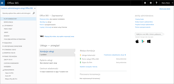 Przykład wyglądu centrum administracyjnego usługi Office 365 w razie posiadania planu usługi Skype dla firm Online.