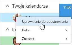 Zrzut ekranu przedstawiający menu kontekstowe kalendarza z obszaru Twoje kalendarze z wybraną pozycją Uprawnienia do udostępniania.