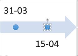 Kliknięcie kształtu na osi czasu