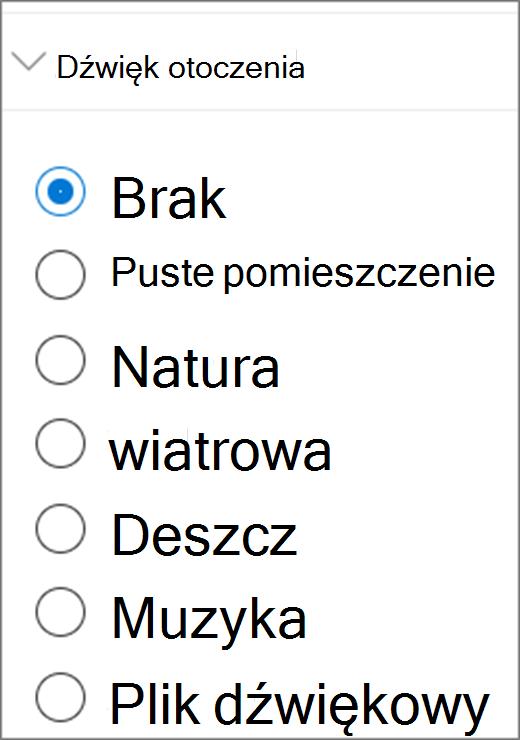 Interfejs użytkownika dźwięku otoczenia