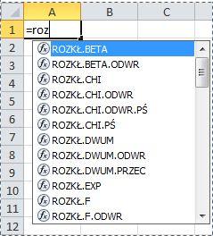 Funkcje w programie Excel 2010
