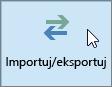 Zrzut ekranu przedstawiający polecenie Importuj/Eksportuj w programie Outlook 2016