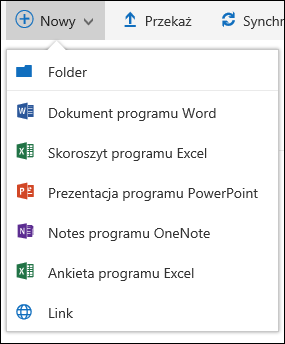 Tworzenie nowego pliku w bibliotece dokumentów w usłudze Office 365