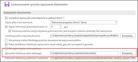 Opcje zapisywania w programie Word pokazujące ustawienie folderu domyślnego