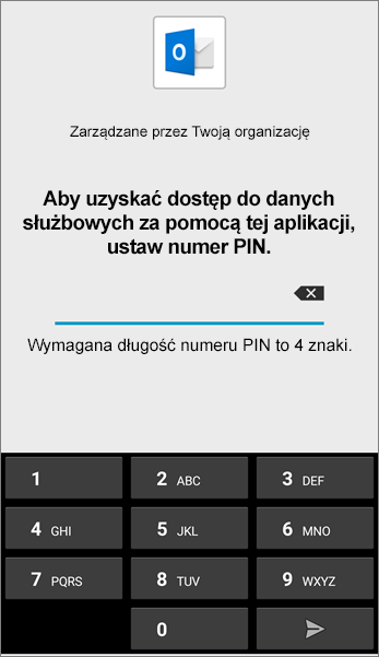 Ustaw numer PIN dla aplikacji Outlook w systemie Android