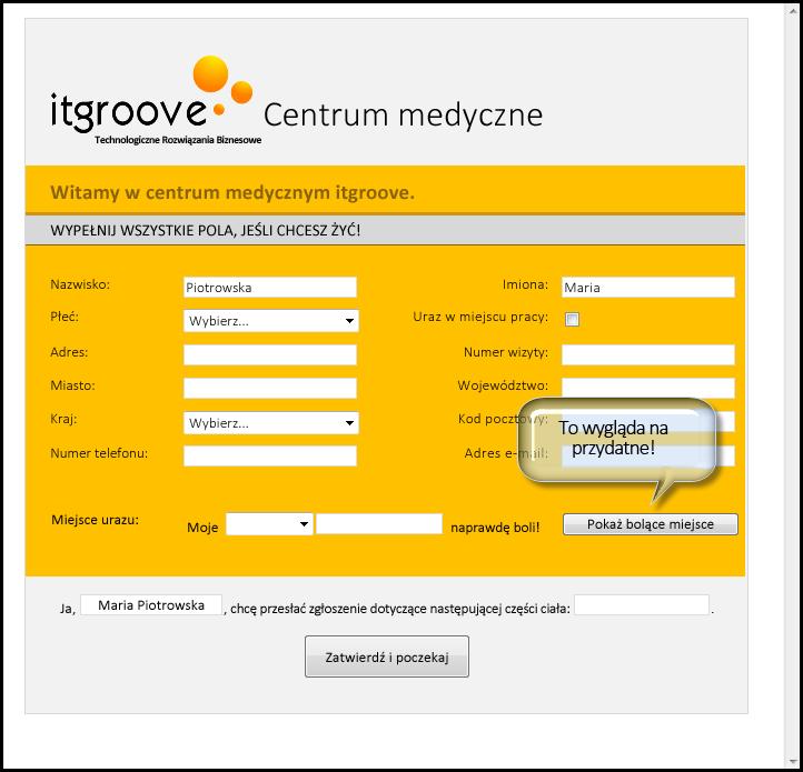 Przycisk pokazywania problemu w formularzu