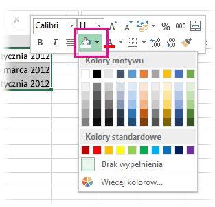 Kliknięcie zaznaczenia prawym przyciskiem myszy w celu dodania koloru wypełnienia do komórek