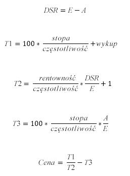 Formuła CENA, gdy N < = 1
