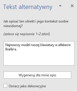 Okienko tekstu alternatywnego Win32 programu Word dla obrazów