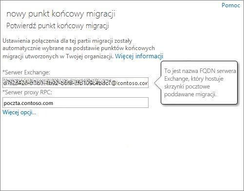 Potwierdzone połączenie dla punktu końcowego usługi Outlook Anywhere.