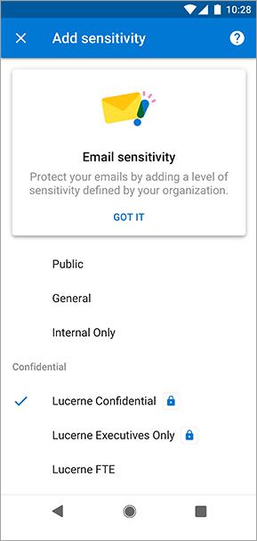 Zrzut ekranu przedstawiający etykiety wrażliwości w programie Outlook dla systemu Android