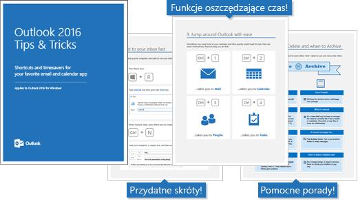 Okładka książki elektronicznej z poradami i wskazówkami dotyczącymi programu Outlook 2016. Jej strony zawierają wskazówki.