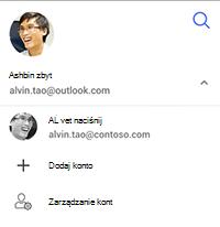 Zrzut ekranu z wybraną opcją przełączanie konta, Dodaj konto lub zarządzanie kont