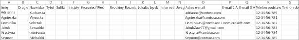 Oto jak wygląda przykładowy plik CSV zawierający informacje kontaktowe.