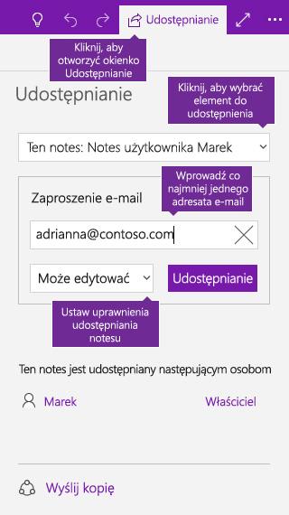 Zrzut ekranu przedstawiający udostępnianie całego notesu w programie OneNote