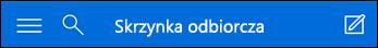 Górny obszar nawigacji dla wersji mini aplikacji Outlook Web App