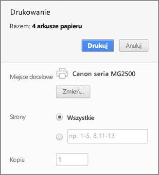 Opcje panelu drukowania przeglądarki Chrome