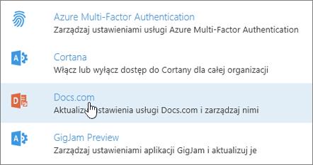 Na stronie Usługi i dodatki wybierz pozycję Docs.com