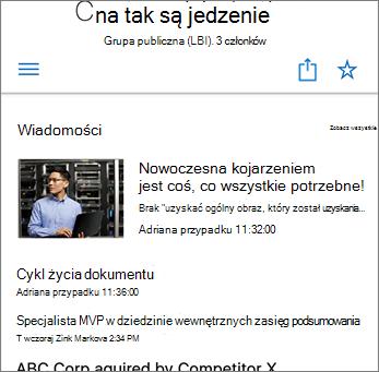Wiadomości zespołu w witrynie — zrzut ekranu