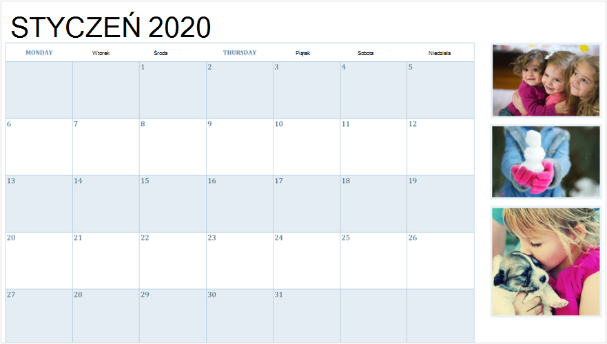 Obraz kalendarza 2020 stycznia z fotografiami