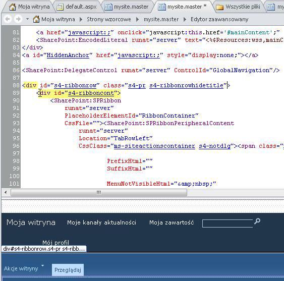Używanie tagów DIV podczas dostosowywania strony wzorcowej witryny Moja witryna