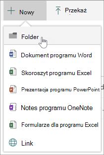 Menu Nowy z opcją nowego folderu