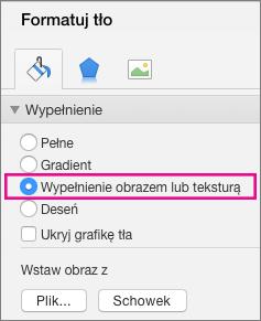 Pozycja Formatuj tło w programie PowerPoint dla komputerów Mac