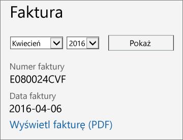 Zrzut ekranu przedstawiający sekcję Faktura na stronie Szczegóły rachunku w centrum administracyjnym usługi Office 365.