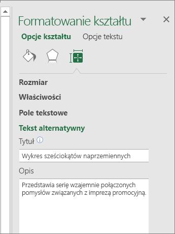 Zrzut ekranu przedstawiający obszar Tekst alternatywny okienka Formatowanie kształtu z opisem zaznaczonej grafiki SmartArt