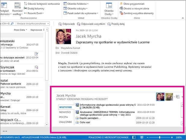 Dodatek Outlook Social Connector po rozwinięciu