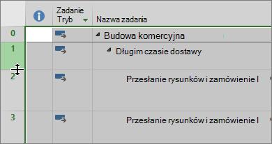 Zrzut ekranu przedstawiający widok Wykres Gantta z kursorem myszy nad separatorem wierszy
