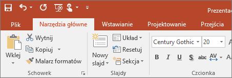 Kolorowa wstążka z motywem w programie PowerPoint 2016