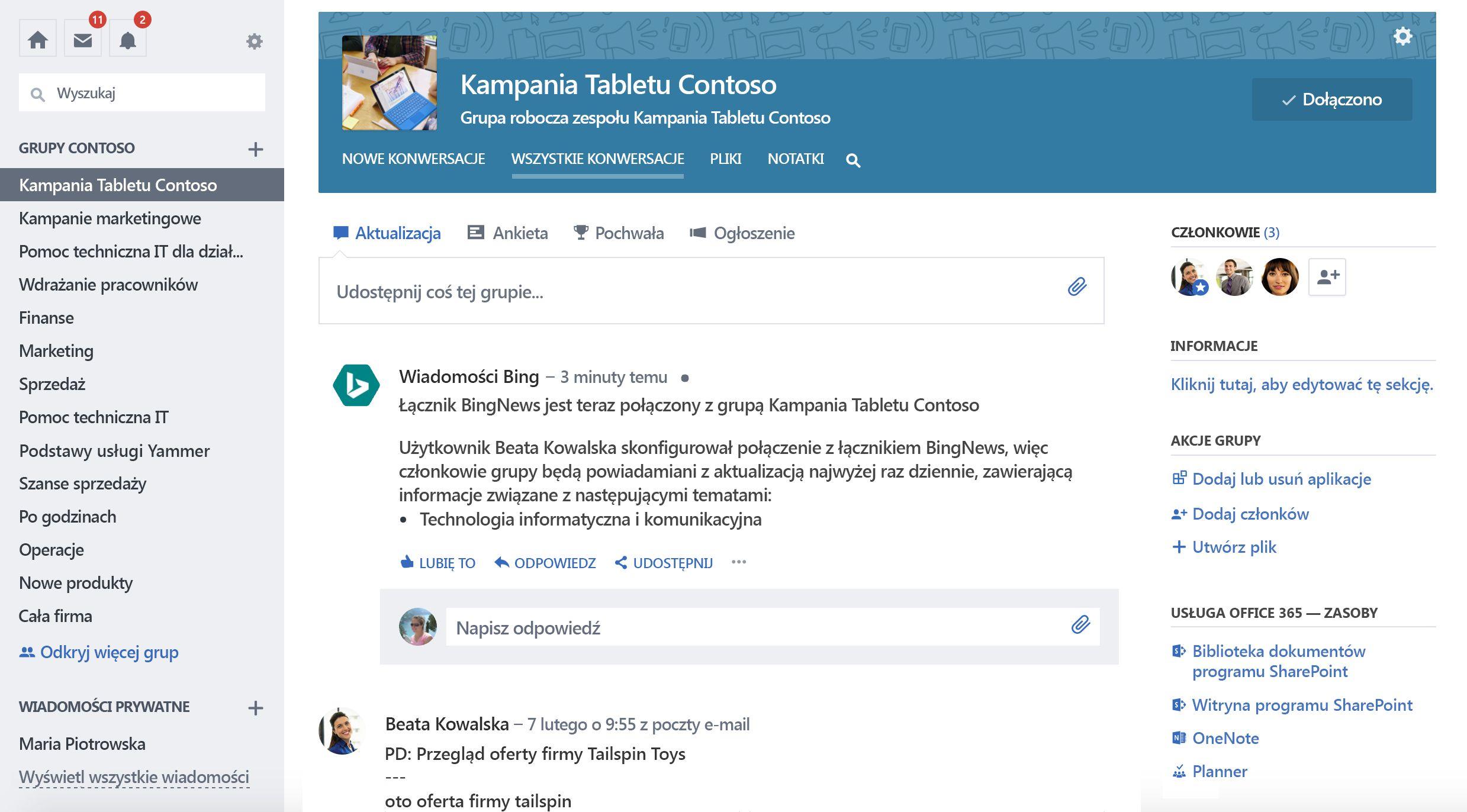 Zrzut ekranu usługi Office 365 połączenia grupy usługi Yammer z nowe połączenie