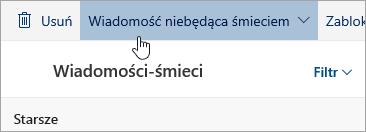 Zrzut ekranu przedstawiający przycisk wiadomości-śmieci nie