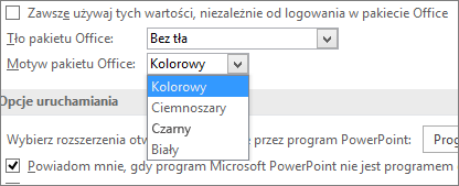 Opcje Motywów pakietu Office w programie PowerPoint 2016