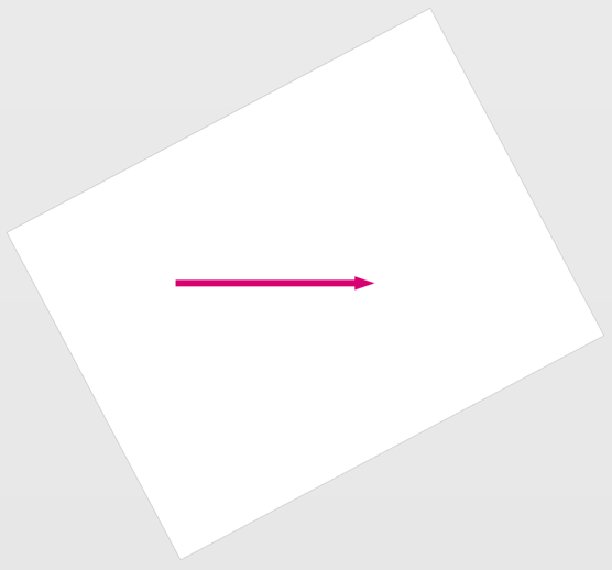 Strona programu Visio obrócona, dzięki której linia askew jest teraz idealnie ułożona.