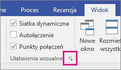 Przycisk uruchamiania okna dialogowego Przyciąganie i przyklejanie w programie Visio 2016