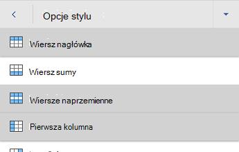 Menu Opcje stylu tabeli w programie Word dla systemu Android