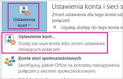 Aby usunąć konto usługi Gmail, wybierz pozycję Plik > Ustawienia kont > Ustawienia kont.