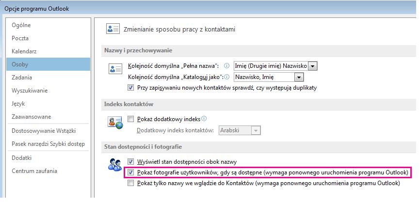 Zrzut ekranu przedstawiający okno Opcje programu Outlook z wyróżnionym polem wyboru Pokaż fotografie