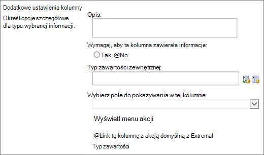 Opcje wyboru kolumn danych zewnętrznych
